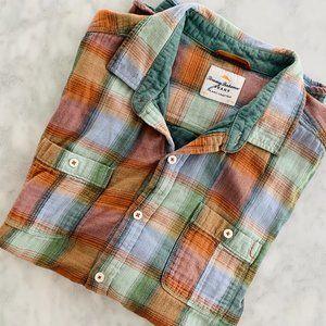 Tommy Bahama Plaid Shirt Jacket Green Orange Large